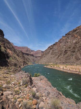 Granite Rapids and the Colorado River in Grand Canyon National Park, Arizona. Фото со стока
