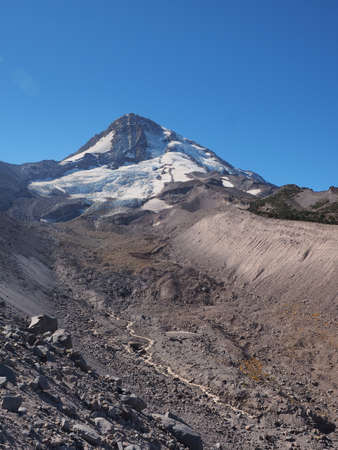 The north face of Mount Hood, Oregon, and Eliot Glacier in the Mount Hood Wilderness as seen from the Timberline Trail.