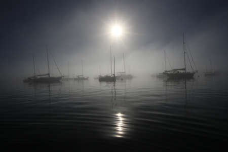 Bright fogbow over the sailboats anchored off Crandon Marina in Key Biscayne, Florida, on a calm, foggy morning. 스톡 콘텐츠