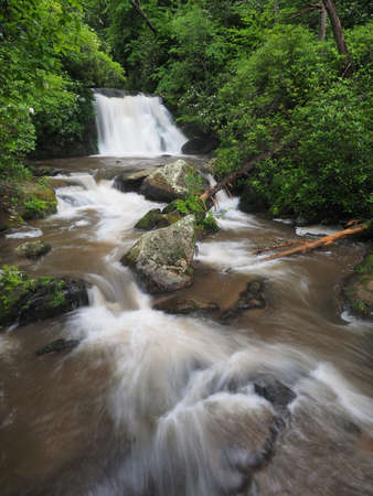 Yellow Creek Falls near Robbinsville, North Carolina, flowing strongly after heavy summer rains.