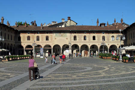 Vigevano, Italy - April 9, 2011 The Piazza Ducale in Vigevano, a city in the Province of Pavia in northern Italy.