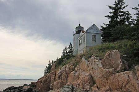 Bass Harbor Head Lighthouse on the rocky coast of Bass Harbor, Maine. Stok Fotoğraf