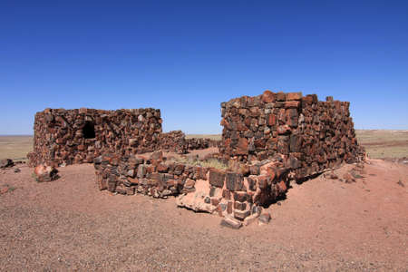 Agate House in Petrified Forest National Park, Arizona, a partially restored thousand year old indian pueblo.