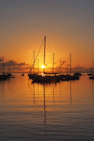 Sunrise over Dinner Key Marina in Coconut Grove, Miami, Florida.