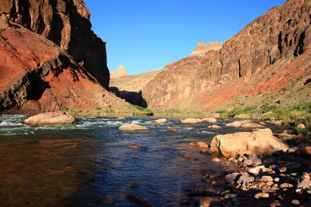 Hance Rapids with its colorful rocks and boulders in Grand Canyon National Park, Arizona.