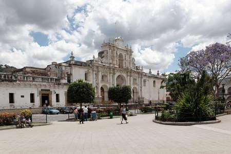 Antigua, Guatemala 03-01-2008 The Antigua Guatemala Cathedral, a restored colonial building in the center of Antigua.