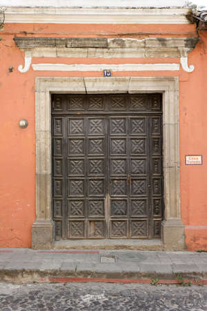 Antigua, Guatemala 03-01-2008 Antique wood doors and hardware in the colonial style of this small city in southern Guatemala.