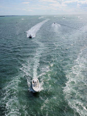 A busy boating day on Biscayne Bay near Key Biscayne, Florida.