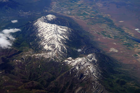 Aerial view of Mount Nebo, Utah with the towns of Nephi and Mona in the background.