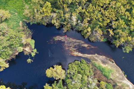 Aerial view of Fisheating Creek, Florida on autumn afternoon.