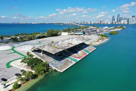Miami, Florida 9-28-19: Miami Marine Stadium designed by Hilario Candela on Virginia Key with Miami skyline and Rickenbacker Causeway in background.
