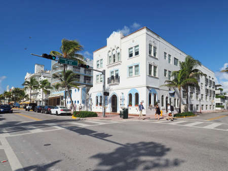 Miami Beach, Florida - August 5, 2018 - Restored Art Deco buildings on Ocean Drive in Art Deco Historic District on sunny summer day.