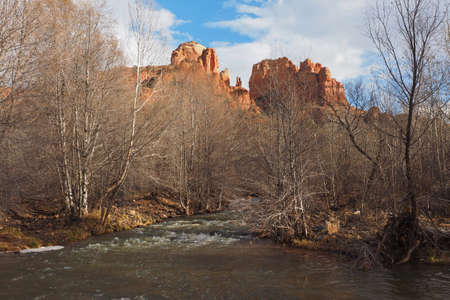 Cathedral Rock under a winter cloudscape in Red Rock State Park outside of Sedona Arizona.