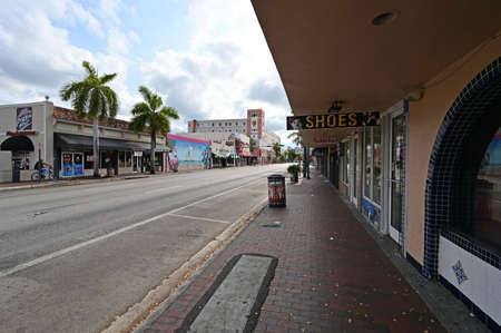 Miami, Florida - April 5, 2020 - Calle Ocho - Eigth Street - devoid of people under covid-19 hotel, bar and restaurant closure and stay-at-home order.