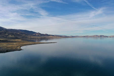Aerial view of Pyamid Lake near Reno, Nevada on calm winter afternoon.