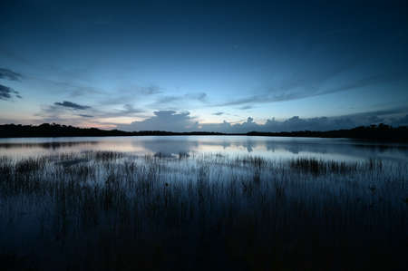 Morning twilight over Nine Mile Pond in Everglades National Park, Florida on perfectly calm summer morning.