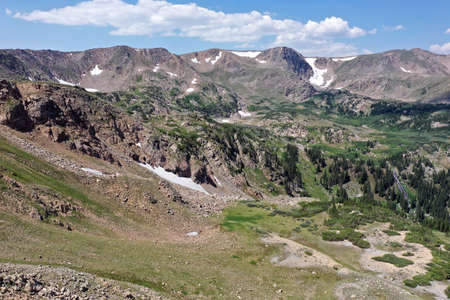 Aerial view of Indian Peaks Wilderness in Arapaho National Forest, Colorado on sunny summer afternoon.