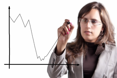 Business Woman Demonstrates that after a Moment of big Crisis comes an Exponential Growth Stock Photo
