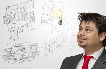 Engineer thinks and plans new projects, ideas appear all the time