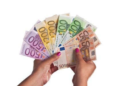 Young Woman show a range of Euro Banknotes Stock Photo - 10117130