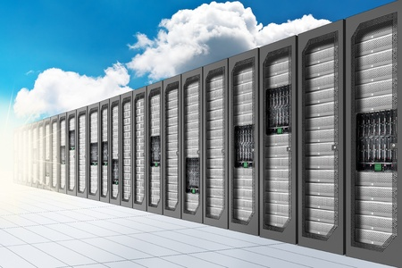 data center: A Conceptual vision of a Datacenter on the cloud (Cloud Computing) Stock Photo