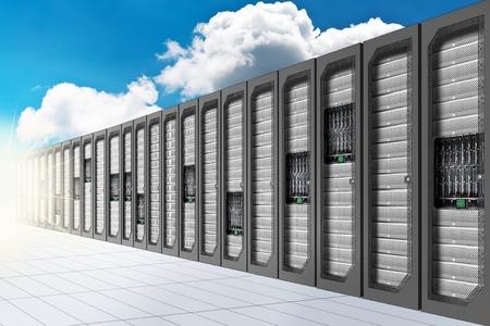 rechenzentrum: Eine konzeptionelle Vision eines Datencenters auf der Wolke (Cloud-Computing) Lizenzfreie Bilder