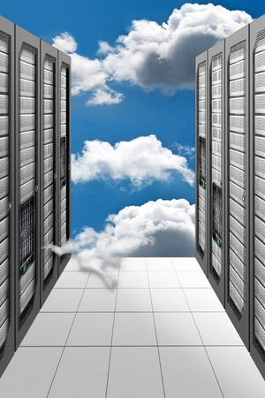 mainframe computer: A Conceptual vision of a Datacenter on the cloud (Cloud Computing) Stock Photo