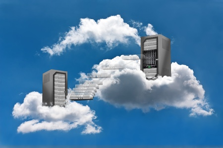 A Virtual Machine moves from a cloud Server Rack to the other photo