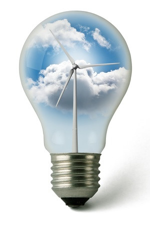 power in nature turbine: Lightbulb used with clean electricity from wind Stock Photo