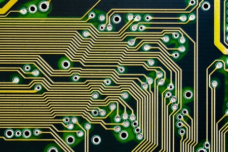Electronic circuits on a computer board macro photography