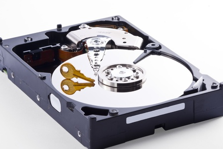 Hard Disk with Encrypted Data inside beeing accessed photo