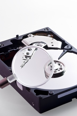 Trying to find some files inside the Hard Disk using a magnifying glass