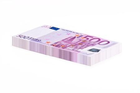 one hundred euro banknote: Una pila de billetes de 500 euros