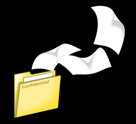 storing: Confidential files are flying away from a folder. Stock Photo