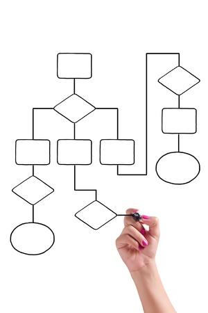 diagrama procesos: Empresaria dibuja un diagrama de flujo en la pizarra
