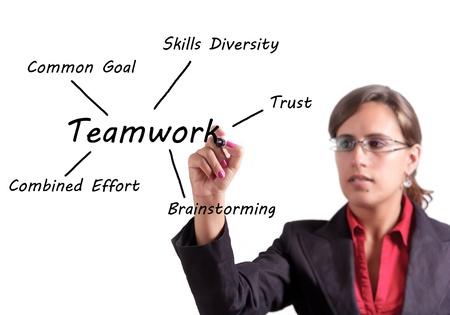 skills diversity: Woman writes on a whiteboard the key points of Teamwork