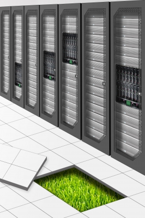 A Conceptual vision of a Datacenter energetically Efficient Stock Photo