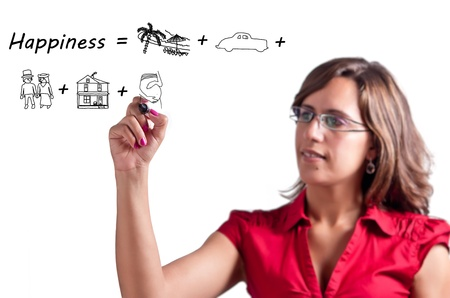 Happy Woman draws a definition of Happiness as a groups of good moments in life Stock Photo - 10215113