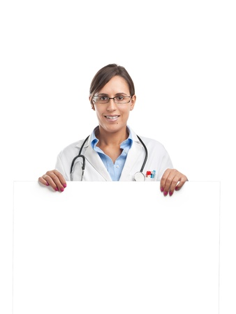 Doctor is holding a blank cardboard sign for your own text