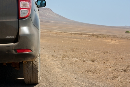 4 wheel: Rock Desert Safari on a 4 Wheel Drive  Stock Photo