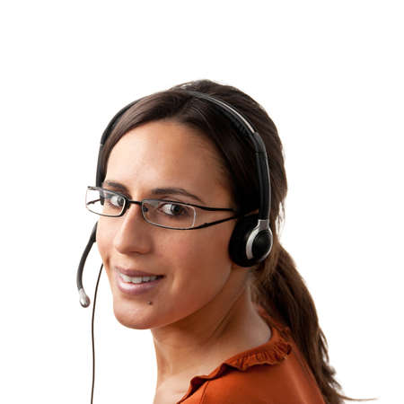 Telephone Call Center Operator Agent looking Back