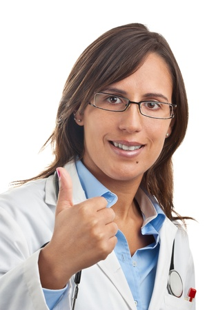 Woman Doctor expressing positivity with Thumbs up Gesture Stock Photo
