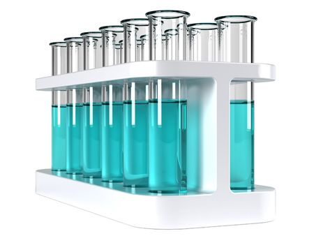 test tube holder: Holder with test tubes full of cyan liquid Stock Photo