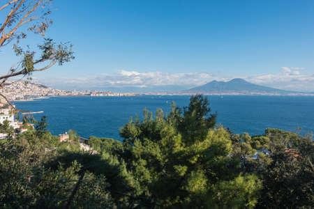 naples: Bay of Naples and Mount Vesuvius from Posillipo Stock Photo