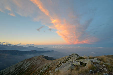 A beautiful sunset view from the top of a mountain at 2150 m a m s l  near Turin  Italy Stock Photo - 16206779