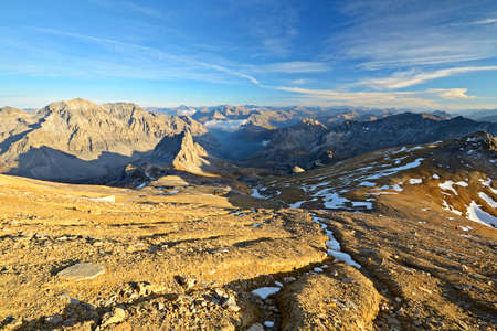 mountainscape: Mountainscape at sunset, Location  M  Thabor  3178 m  in the french Alps near the border to Italy