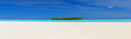 Panoramic view from Motu Maina, Aitutaki, Cook Islands  3 single photos stitched Stock Photo