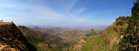 Panoramic view from the Simien Mountains National Park overlooking the Ethiopian plateau, under hard light condition  4 single photos stitched
