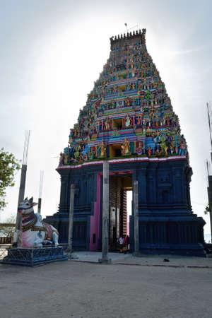 Island of Nainativu, Jaffna district  Sri Lanka   entrance tower of the hindu temple of Naga Pooshani Amman Editorial