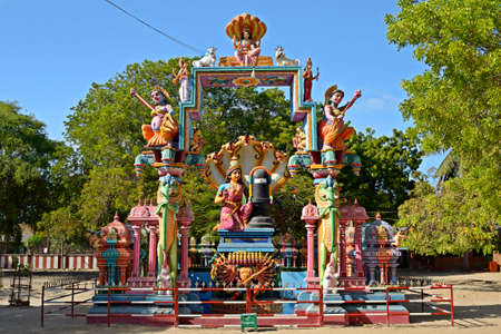 Island of Nainativu, Jaffna district  Sri Lanka   Meenakhsi statue at hindu temple of Naga Pooshani Amman Stock Photo